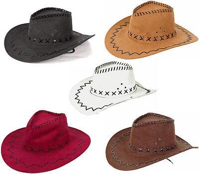 Western Cowboy Hut - Westernhut - Texas Hut - Wildlederoptik - Erwachsene (Hut Cowboy Wildleder)