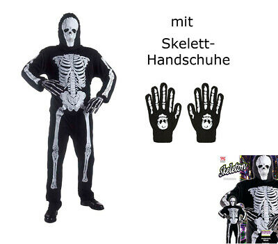 Kinderkostüm Skelett, Anzug und Maske + Knochenhandschuhe - - Skelett Halloween Kostüm Kind