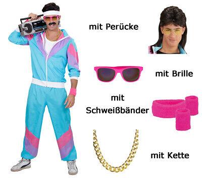 Herren 80 er Jahre Trainingsanzug Gr. M - Brille + Schweißbänder, Perücke, - 80er Jahre Kostüm Perücken