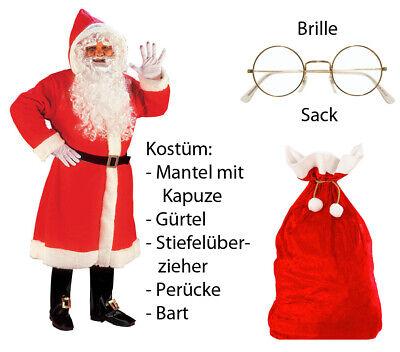 Luxus Weihnachtmann Mantel mit Perücke, Bart, ...M/L - Set mit Sack + - Weihnachtsmann Set Perücke Kostüm