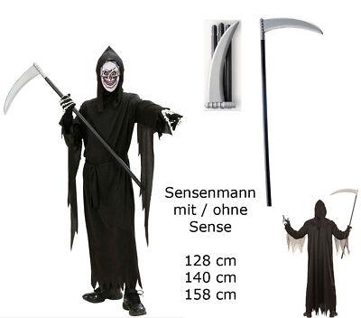 Kinder Kostüm Sensenmann Robe Gürtel Maske Kapuze Gr.128 - 158 cm mit/ohne Sense