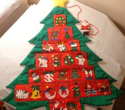 FABRIC CLOTH COUNTDOWN TO CHRISTMAS TREE ADVENT CALENDAR POCKET WALL DECORATION
