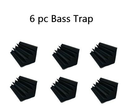 6 pcs Acoustic Foam Black Bass Trap Soundproof Corner Wall Studio Home 10x5x5  Acoustic Studio Bass Trap