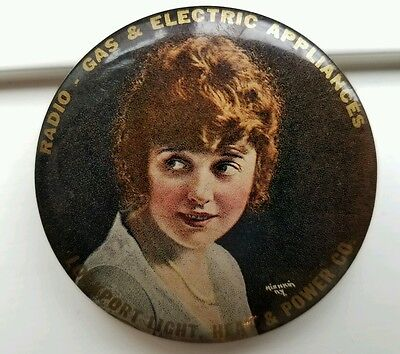 Old LOCKPORT LIGHT ELECTRIC Mabel Norman Silent Screen Advertising Pocket Mirror
