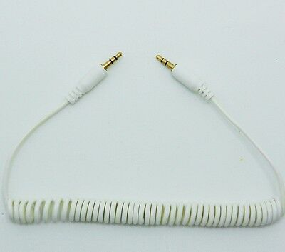 (6FT 3.5mm Male to Male Stereo Audio Extension  Aux  White Coiled Cable  NEW )