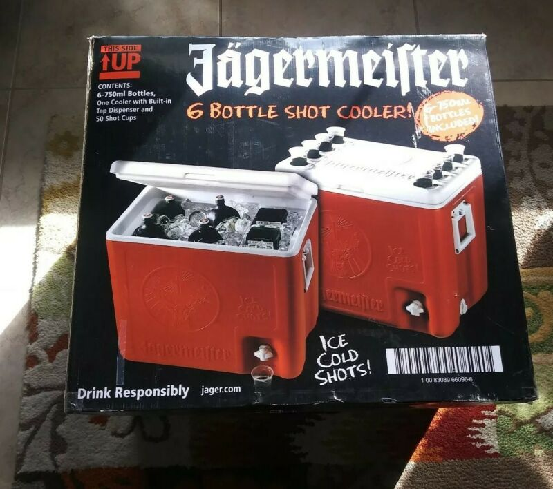 JAGERMEISTER COOLER WITH OUTSIDE TAP HOLDS 6 BOTTLES -OPEN BOX/UNUSED-