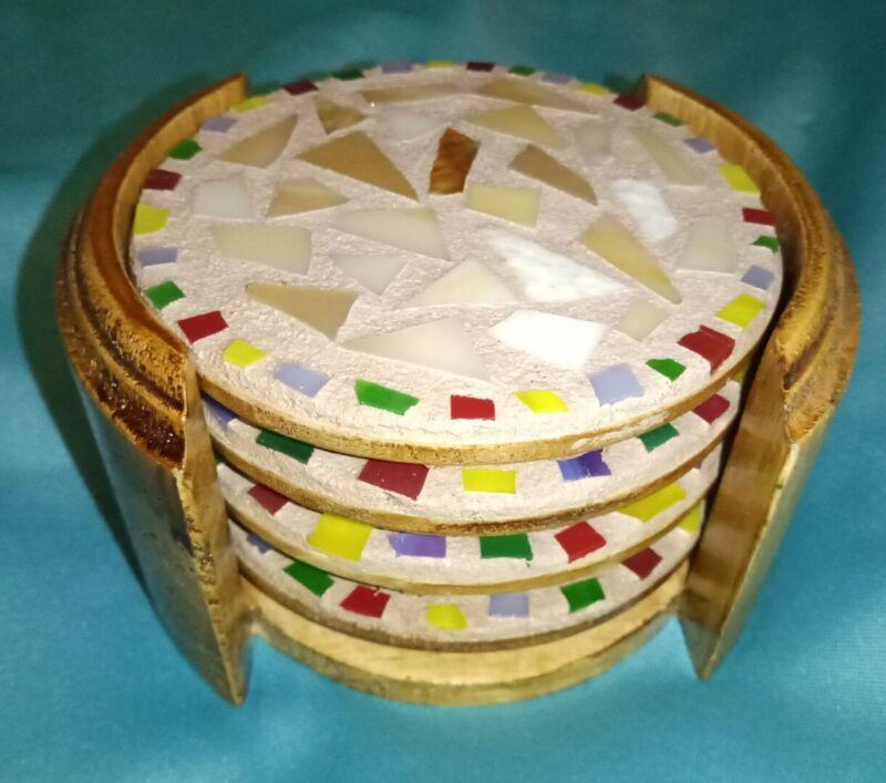 4 MCM Mosaic Tile Inlay & Wood Coasters  with Cradle ~ Kamenstein 1970 ~ Vintage