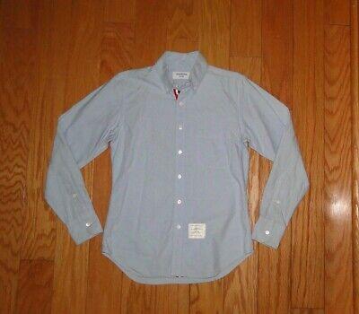 Thom Browne Button Down Collar Shirt Size 2 Oxford Blue Men's Grosgrain Placket