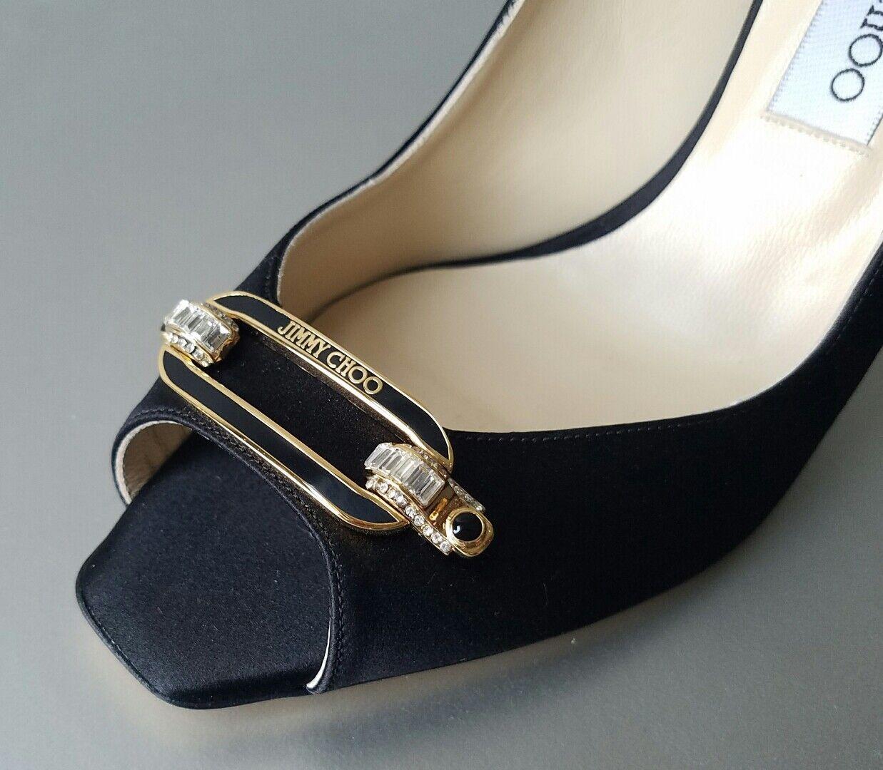 JIMMY CHOO LEE Black Satin Logo Crystal Slingback Shoes EU 41 I LOVE SHOES