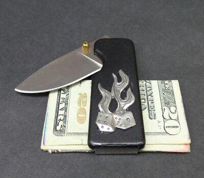 Money Clip Knife Black Blade - Black Money Clip Folding Pocket Knife Flaming Dice Emblem Honed Blade Thumb Lock