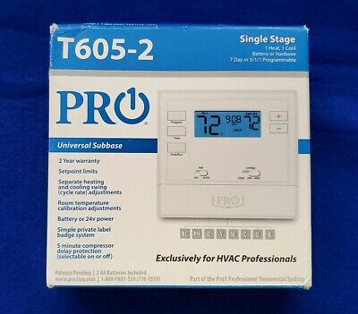 Thermostat Pro1 Iaq T605-2 Touchscreen Programmable Stages 1 Heat1 Cool