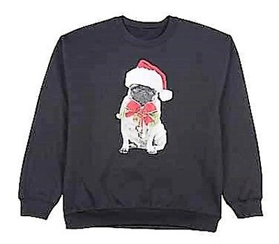 Christmas Dogs Sweatshirt - Christmas Holiday Graphic Black Fleece Sweatshirt - PUG Dog with Santa Hat