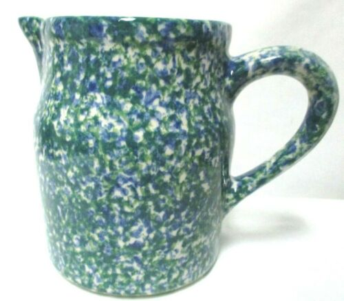 "Roseville Vintage sponge Pitcher 6"" x 4"" 1 Qt USA green blue white"