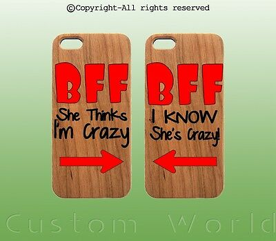 BFF Best Friend Wood Case iPhone Couple Matching printed for iPhone 6,7 &