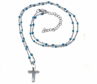 Edelstahl Halskette mit türkisen Perlen und Kreuzanhänger 50cm