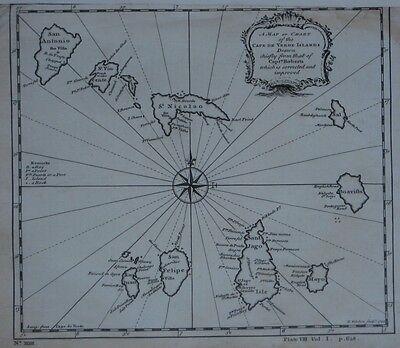 Original Antique 1744 Thomas Kitchin Map CAPE VERDE ISLANDS Compass Rose Volcano