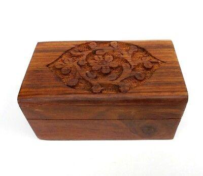 Small Wood Jewelry Box Carved Flower Design Keepsake Trinket Box B