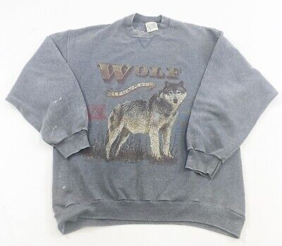 Vintage Spirit Lake Outfitters Wolf Sweatshirt Mens L Made In USA Alpha Male
