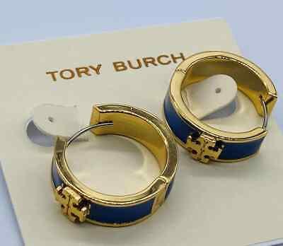 Tory Burch Gold Tone Kira blue Enamel Huggie Earrings Enamel Gold Tone Earrings