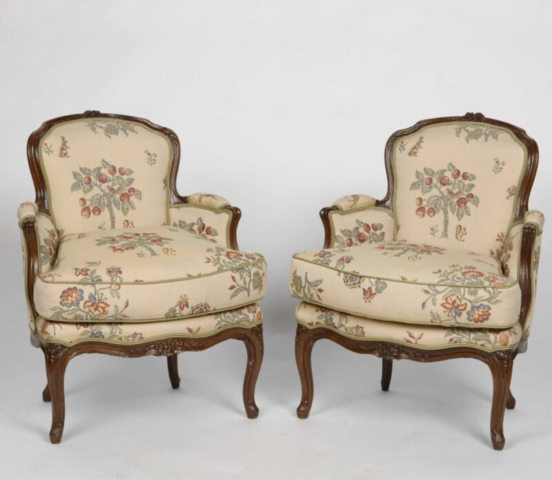 Superb 18th Century Louis XV French Oak Bergeres - a Pair