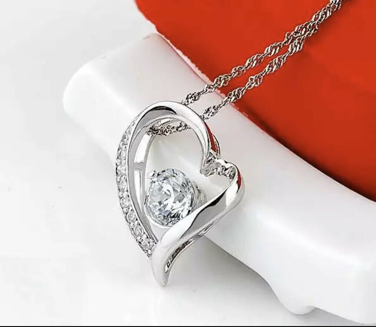 "925 Sterling Silver Cubic CZ Heart Love Pendant Necklace 17"" Girlfriend Wife N19 Fashion Jewelry"