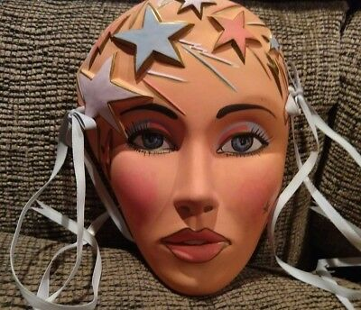 Vintage Mardi Gras, Carnival Real To Life Lady Porcelain Face Mask Party Decor (Mardi Gras Masks To Decorate)