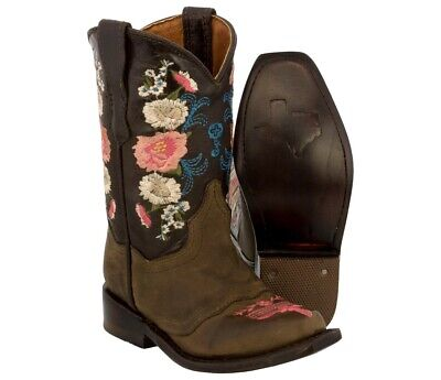 Girls Flower Boots (Cowgirl Toddler Boots Girls Brown Cowboy Western Up Snip Toe Flower Real)