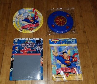 Superman Birthday Party Lot Bag, Doodle, Tin, Hexor, Stickers balls and more 1G