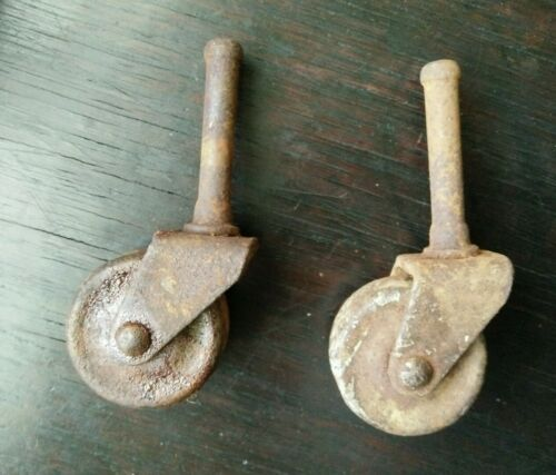 Set  2  antique Casters Wheels Furniture Trolley Antique