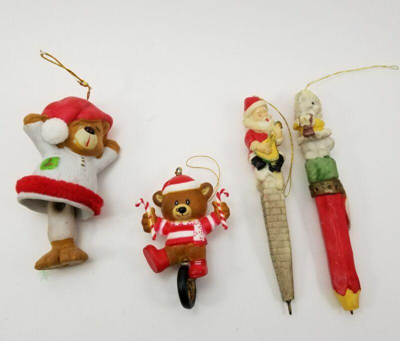 (Lot of 4) Christmas Ornaments Mouse & Santa Pens /Pencils and 2 Bears