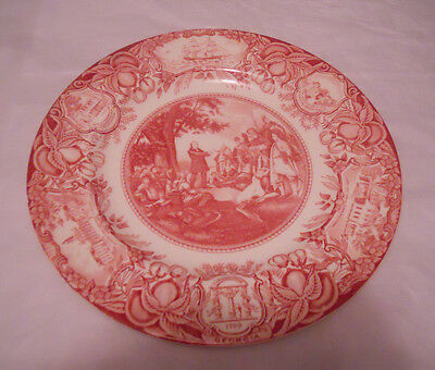 Wedgwood Commemorative Plate John Wesley Teaching the Indians Red Vintage