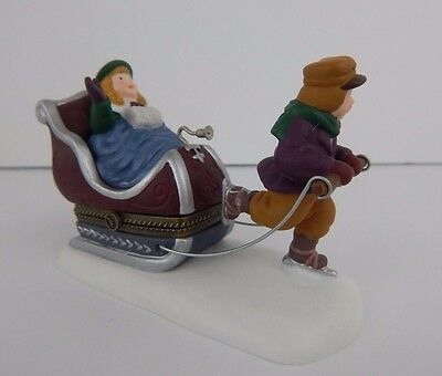 Dept 56 Dickens Village Sleighride Porcelain Hinged Box #57502 Good Condition