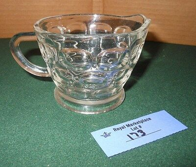 Vintage Retro Clear Glass Thumbprint Pattern Creamer