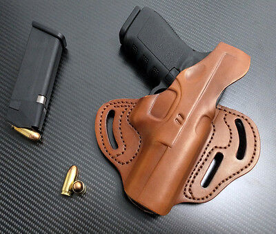 Fit Glock 17,19,22,23,24,31,32,34,35,37,38 RIGHT Hand TAN 3 Slot Leather Holster