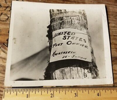 "1943-1944 USMC Kwajalein ROI NAMUR PHOTO - POST OFFICE SIGN ""Ex-Japan"" Humor"