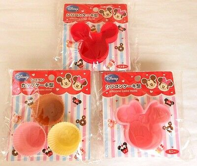 Japanese DISNEY Micky Miney Silicone Cake Mold Cup 3SET F/S