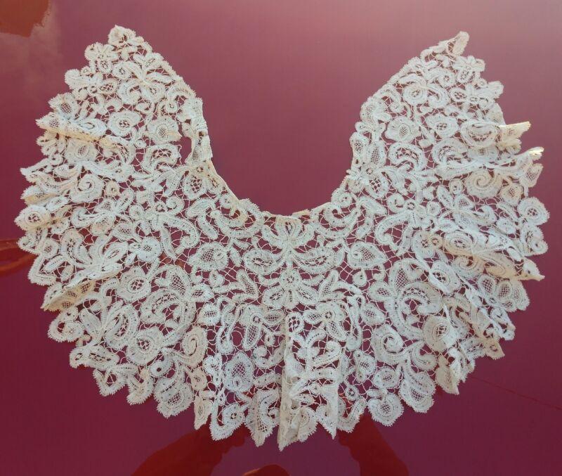 BEAUTIFUL 19TH C TAPE LACE COLLAR 4 DRESS W PICOT BRIDES