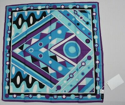 "Emilio Pucci Women's Cotton Hand Rolled Scarf New 23"" X 23"""