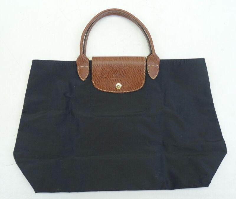 Longchamp Black Le Pliage Brown Leather Strap Foldable Tote Handbag