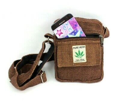 Hippie Hemp (Small Hemp Crossbody Purse Boho Hippie Brown Passport Travel Shoulder Bag  )
