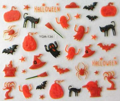 Nail art autocollants stickers ongles Décorations Halloween citrouilles chats - Decoration Ongle Halloween