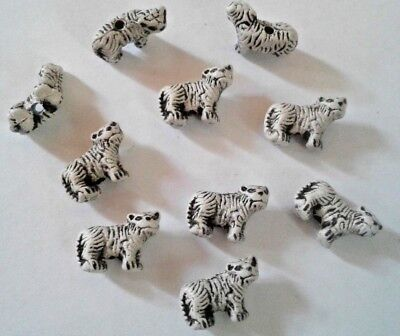Mini Peruvian Ceramic White Tiger Earring Size 10 X 15mm Animal Beads Lot of 10