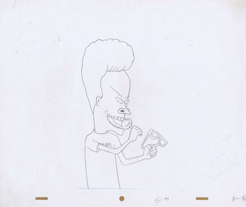 BEAVIS BUTTHEAD Production Cel Original Cell Drawing MTV Mike Judge 90s Lillipop