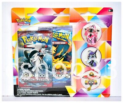 Pokemon Card Game 🌴Island Guardians Pin Collection🌴2 Booster Packs Tapu Lele