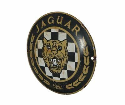 """JAGUAR chequered growler enamel 4 5/8"""" door push plaque sign vintage 1960's"""