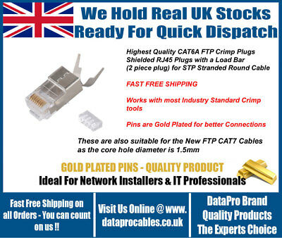 20 Pack Cat6a CAT7 RJ45 Connector Plug FTP Shielded 8P8C 50u Crimp Network Cable