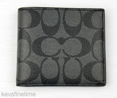 New Coach Men Billfold Double Fold Logo Charcoal Black PVC