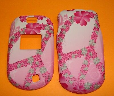 CuTe PINK PEACE WREATH Rubberized Hard Snap-on Case Cover for LG Revere 2 VN150 Lg Pink Hard Faceplates