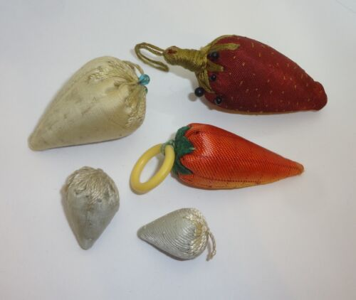 Antique Strawberry Emery or Pin Cushions.  Lot of 5