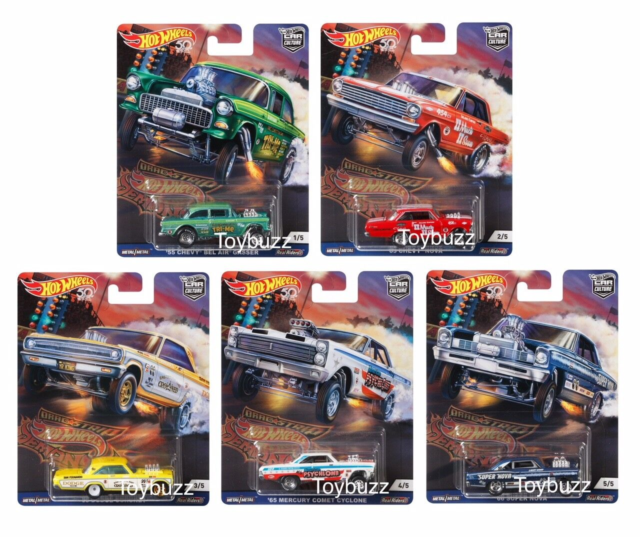 Hot Wheels 1:64 Car Culture DRAG STRIP DEMONS SET OF 5 FPY86-956F